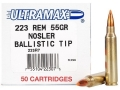 Ultramax Remanufactured Ammunition 223 Remington 55 Grain Nosler Ballistic Tip Box of 50