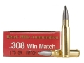 Black Hills Ammunition 308 Winchester 175 Grain Match Hollow Point Boat Tail Moly Box of 20