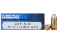 Black Hills Remanufactured Ammunition 40 S&amp;W 155 Grain Full Metal Jacket Box of 50