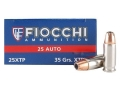 Fiocchi Extrema Ammunition 25 ACP 35 Grain Hornady XTP Jacketed Hollow Point Box of 50