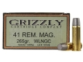 Grizzly Ammunition 41 Remington Magnum 265 Grain Cast Performance Lead Wide Flat Nose Gas Check Box of 20