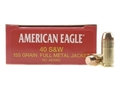 Federal American Eagle Ammunition 40 S&amp;W 155 Grain Full Metal Jacket Box of 50