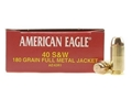 Federal American Eagle Ammunition 40 S&amp;W 180 Grain Full Metal Jacket Box of 50