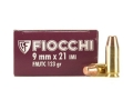 Fiocchi Shooting Dynamics Ammunition 9x21mm 123 Grain Full Metal Jacket Truncated Cone Box of 50