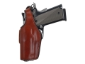 Bianchi 19L Thumbsnap Holster Left Hand S&W 411, 909, 910, 915, 3904, 3906, 4006, 5904, 5906 Suede Lined Leather Tan