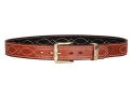 Ross Leather Fancy Stitch Dress Belt 1-1/2&quot; Brass Buckle Leather Tan 34&quot;