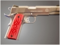 Hogue Extreme Series Grips 1911 Government, Commander Ambidextrous Safety Cut Tribal Aluminum Red
