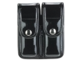 Product detail of Bianchi 7902 AccuMold Elite Double Magazine Pouch Single Stack 9mm, 45 ACP Chrome Snap Basketweave Trilaminate Black