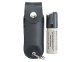 Mace Brand Triple-Action Leather Plus Pepper Spray 11 Gram Aerosol Includes Leather Holder with King Ring 10% OC Plus Tear Gas and UV Dye Black
