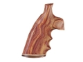 Hogue Fancy Hardwood Grips with Accent Stripe, Finger Grooves and Contrasting Butt Cap Colt Trooper Mark III Checkered Tulipwood