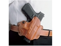 Product detail of DeSantis Mini Slide Belt Holster Right Hand Glock 17, 19, 22, 23, 26, 27, 31, 32, 33, 36 Leather Tan