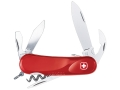 Wenger Swiss Army Evolution S 10 Folding Knife 12 Function Swiss Surgical Steel Blades Polymer Scales Red