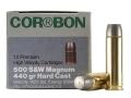 Cor-Bon Hunter Ammunition 500 S&W Magnum 440 Grain Hard Cast Lead Flat Point Box of 12
