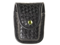 Bianchi 7915 AccuMold Elite Pager or Glove Pouch Brass Snap Basketweave Trilaminate Black