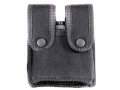 Uncle Mike&#39;s Divided Double Magazine Pouch Double Stack Magazines Snap Closure Molded Insert Nylon Black