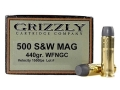 Product detail of Grizzly Ammunition 500 S&W Magnum 440 Grain Cast Performance Lead Wide Flat Nose Gas Check Box of 20
