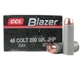 CCI Blazer Ammunition 45 Colt (Long Colt) 200 Grain Jacketed Hollow Point Box of 50