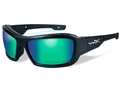 Wiley X Black Ops WX Knife Polarized Sunglasses Matte Black Frame Emerald Mirror Lens