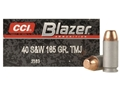 CCI Blazer Ammunition 40 S&amp;W 165 Grain Total Metal Jacket Box of 50