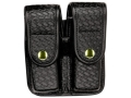 Product detail of Bianchi 7902 AccuMold Elite Double Magazine Pouch Single Stack 9mm, 45 ACP Brass Snap Basketweave Trilaminate Black