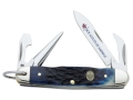 Case 8055 Boy Scouts of America Jr. Scout Folding Knife 4-Blade Spear Point, Screwdriver, Punch, and Can Opener Stainless Steel Blades Genuine Bone Handle Blue with BSA Shield