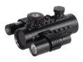 Barska Electro Sight Red Dot Sight 1x 30mm Red Crosshair Dot Reticle with Integral Weaver-Style Mount, Flashlight and Laser Matte