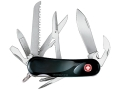 Wenger Swiss Army Evolution 18 Folding Knife 15 Function Swiss Surgical Steel Blades Polymer Scales Black