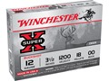 Winchester Super-X Magnum Ammunition 12 Gauge 3-1/2&quot; Buffered 00 Buckshot 18 Pellets Box of 5