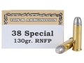 Ten-X Cowboy Ammunition 38 Special 130 Grain Lead Round Nose Flat Point Box of 50
