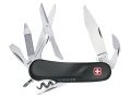 Wenger Swiss Army SoftTouch Evolution 14 Folding Knife 14 Function Swiss Surgical Steel Blades Rubber Scales Black