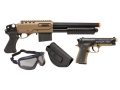 Crosman Airsoft Recon Airsoft Shotgun and Pistol Kit Spring Powered Polymer Stock Black and Tan
