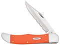 "Case Folding Hunter Folding Pocket Knife 5.25"" Serrated Clip Point Stainless Steel Blade Orange Synthetic Handle"