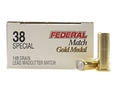 Federal Premium Gold Medal Match Ammunition 38 Special 148 Grain Lead Wadcutter Box of 50