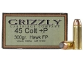 Product detail of Grizzly Ammunition 45 Colt (Long Colt) +P 300 Grain Bonded Core Jacketed Flat Point Box of 20