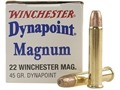 Winchester Dynapoint Ammunition 22 Winchester Magnum Rimfire (WMR) 45 Grain Plated Lead Hollow Point Box of 500 (10 Boxes of 50)