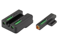 TRUGLO TFX Pro Sight Set HK 45, 45 Tactical, P30, P30L, VP9, VP40 Tritium / Fiber Optic Green with Orange Front Dot Outline