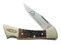 "Case 7146 Ducks Unlimited Mako Folding Pocket Knife 3.25"" Clip Point Stainless Steel Blade Genuine Bone Handle Brown with Leather Sheath"