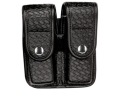 Product detail of Bianchi 7902 AccuMold Elite Double Magazine Pouch Double Stack 45 ACP Chrome Snap Basketweave Trilaminate Black
