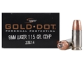 Product detail of Speer Gold Dot Ammunition 9mm Luger 115 Grain Jacketed Hollow Point Box of 20