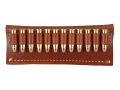 Hunter Cartridge Belt Slide Pistol Ammunition Carrier 38 Caliber 12-Round Leather Brown