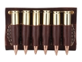 Hunter Cartridge Belt Slide Pistol Ammunition Carrier 45 Caliber Straight-Wall Rifle 6-Round Leather Brown