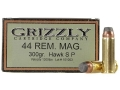 Grizzly Ammunition 44 Remington Magnum 300 Grain Bonded Core Jacketed Flat Point Box of 20