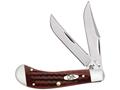 Case Saddlehorn Folding Pocket Knife 2-Blade Clip and Skinner Stainless Steel Blades Pocket Worn Bone Handle Old Red