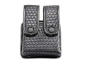 Uncle Mike's Double Magazine Pouch Double Stack Magazines Snap Closure Molded Insert Mirage Nylon Laminate Basketweave Black