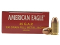 Product detail of Federal American Eagle Ammunition 45 GAP 230 Grain Total Metal Jacket Box of 50
