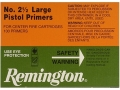 Remington Large Pistol Primers #2-1/2 Box of 1000 (10 Trays of 100)