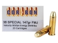 Product detail of Cor-Bon Performance Match Ammunition 38 Special 147 Grain Full Metal Jacket Box of 20