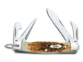 "Case 244 Amber Jr. Scout Folding Knife 2.25"" Spear Point Stainless Steel Blade with Can opener, Screwdriver, and Leather Punch Amber Bone Handle Brown"