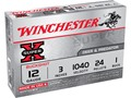 Winchester Super-X Magnum Ammunition 12 Gauge 3&quot; Buffered #1 Buckshot 24 Pellets Box of 5
