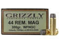 Product detail of Grizzly Ammunition 44 Remington Magnum 300 Grain Cast Performance Lead Wide Flat Nose Gas Check Box of 20
